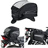 Nelson-Rigg CL-2015-MG Black Magnetic Mount Journey Sport Tank Bag,  (CL-1040-TP) Black Jumbo Expandable Tail Bag,  and  (CL-855) Black Touring Adventure Saddlebag Bundle