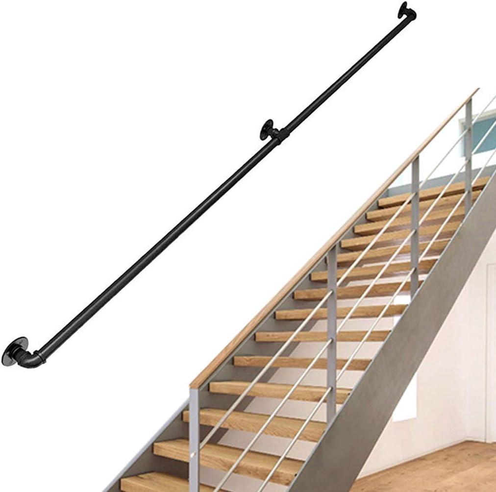 Negro Kit Completo de barandilla de Escalera Industrial |Pasamanos para escaleras para Ancianos Banister Rail para el Interior, Interior, Corredor, Loft |Barandilla de barandilla de Hierro Forjado: Amazon.es: Hogar