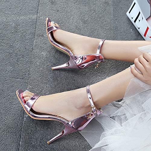 Cheville Haut Ouvert Sandales Talon Aisun Bout Bride Elégant Rose Femme 10cm Décor Avec qwxCBf8