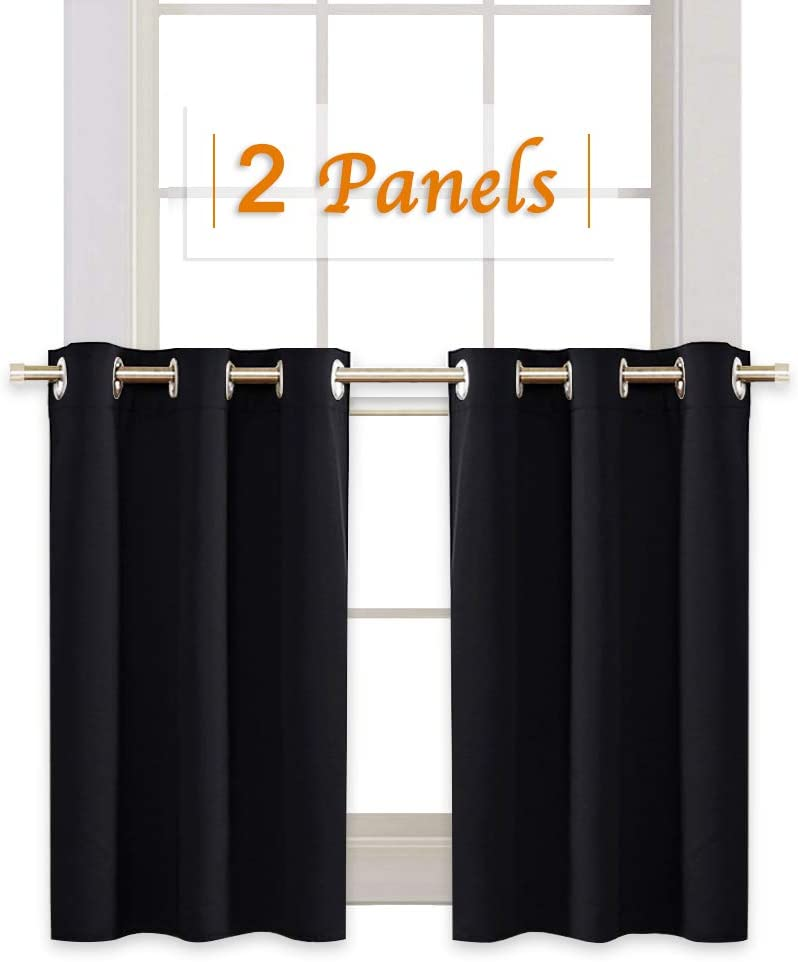 RYB HOME Blackout Tiers Window Drapery Valances for Bedroom, Thermal Insulated Tailored Curtains Privacy Drapes for Nursery/Baby Room, Width 42 inches by Length 36 inches Each Panel, Black, 2 Pcs