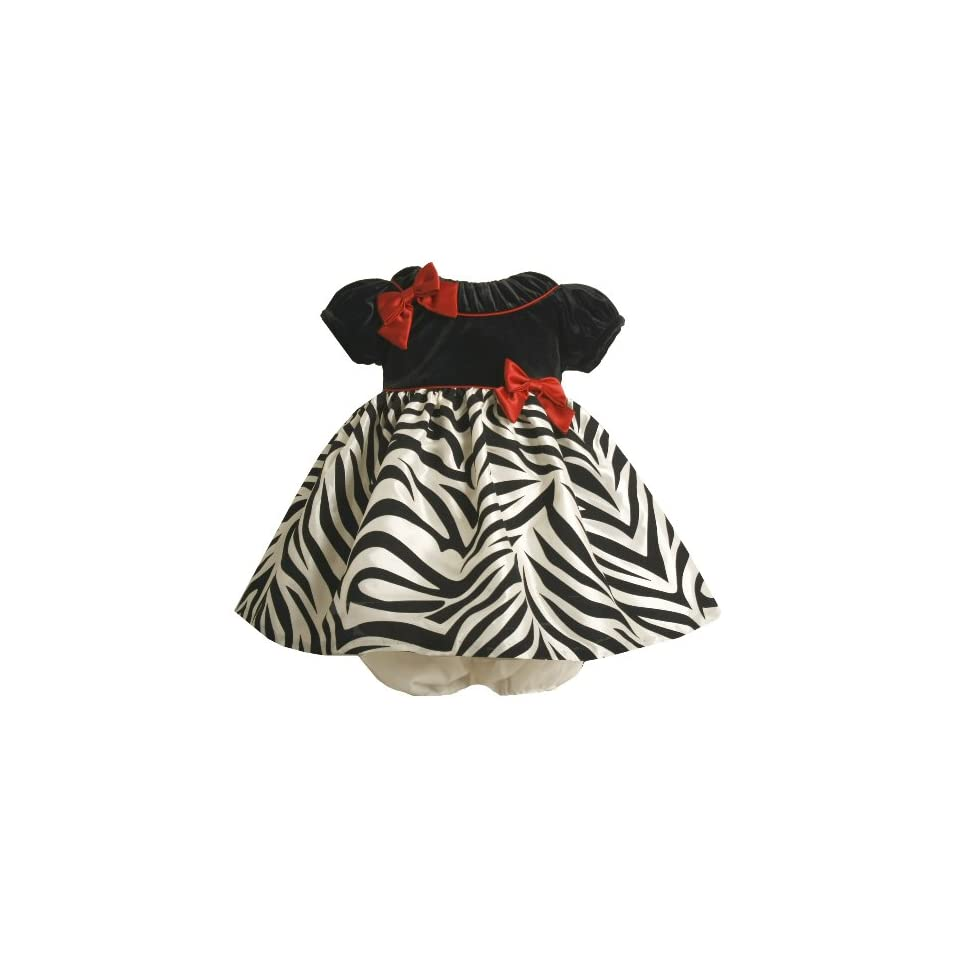 Bonnie Baby Girls Short Sleeve Dress With Zebra Print Skirt, Black/White, 18 Months