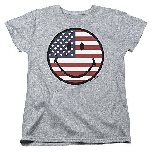 iley World Womens American Flag Face T-Shirt, Medium, Athletic Heather ()