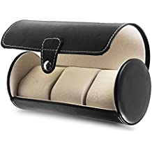 Annstory Travel Watch Storage Organizer for 3 Watches Leatherette Roll Great Gift, Black