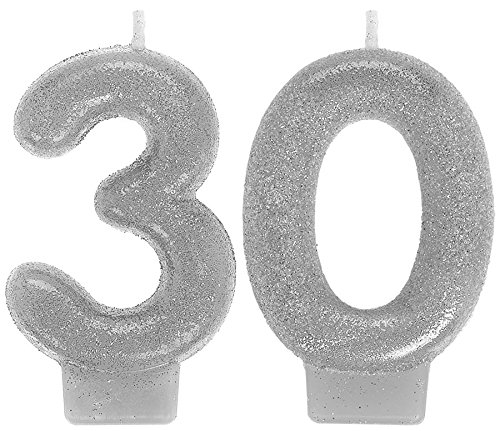 Amscan 170296 Sparkling Celebration 30 Numeral Candles, 3
