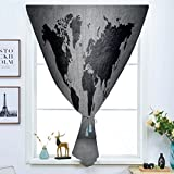 dark grey curtains dunelm iPrint Blackout Window Shades,Free Punching Magic Stickers Curtain,Dark Grey,Black Colored World Map on Concrete Wall Image Urban Structure Grungy Rough Look,Grey Black,Paste Style,for Living Room
