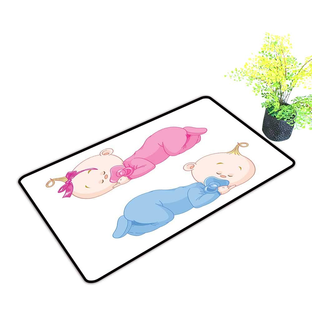 Zmstroy Door mat Baby Two Charming Little Twin Siblings Brother and Sister Sleeping in Pajamas Toddler W31 xL47 Super Absorbent mud Pink Blue Tan