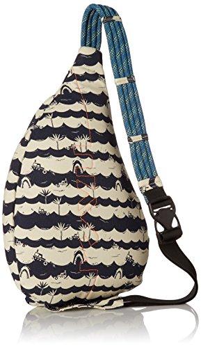 KAVU Rope Bag Cotton Shoulder Sling Backpack 2 Pockets: 1 interior zip, 3 exterior Pockets: 1 interior zip, 2 exterior