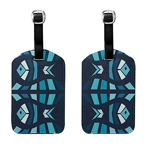 Initial Bag Tag Mosaic,Ceramic Style Fractal Fish Icon in Depth Aquarium Sea Illustration,Sky and Dark Blue Navy White Leather Strap - Set of 2