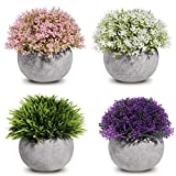 Small Topiary for Home Decor with Wood Shelf Included Mildenhall Fake Plastic Mini Plants for Decoration Set of 3