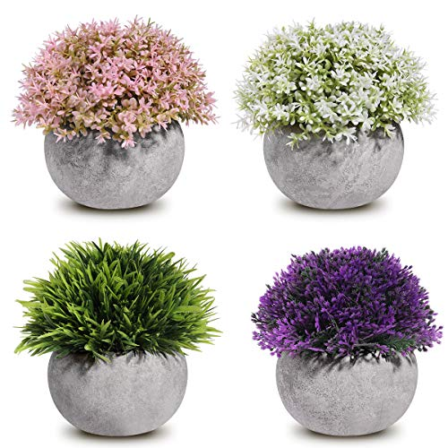 Homemaxs Fake Plants Mini Artificial Plants Potted 4 Pack Topiary Shrubs Plastic Plants for Home Bathroom Decor