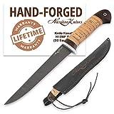 Fillet Knife - Fishing Knife - D2 Steel - Birchbark Handle - KASATKA - Leather Sheath