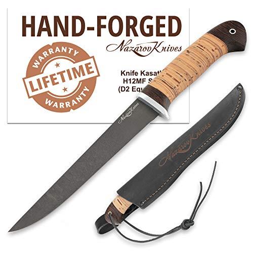 (Fillet Knife - Fishing Knife - D2 Steel - Birchbark Handle - Kasatka - Leather Sheath)
