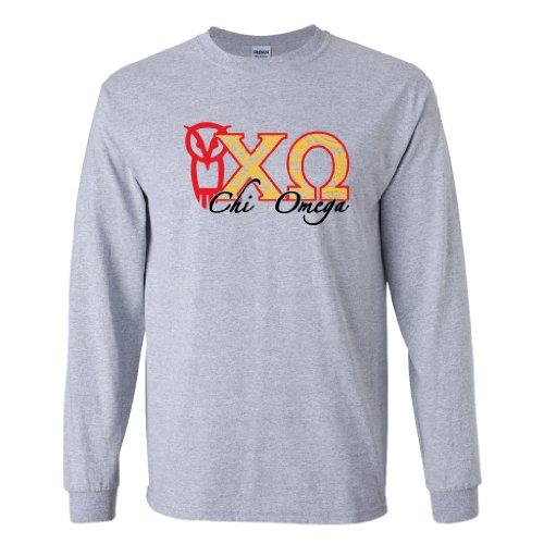 Chi Omega Long Sleeve T-shirt Paisley Greek Letters Design (medium, Sport Gray)