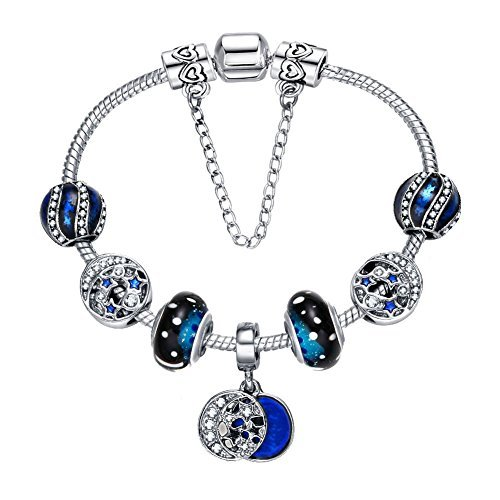 Presentski 925 Silver Plated Romantic Blue Night Sky Fashion Charm Bracelet with CZ Moon Stars Hearts, Christmas Gift for Teen Girls, 7.1 Inches (18 cm) Snake Chain