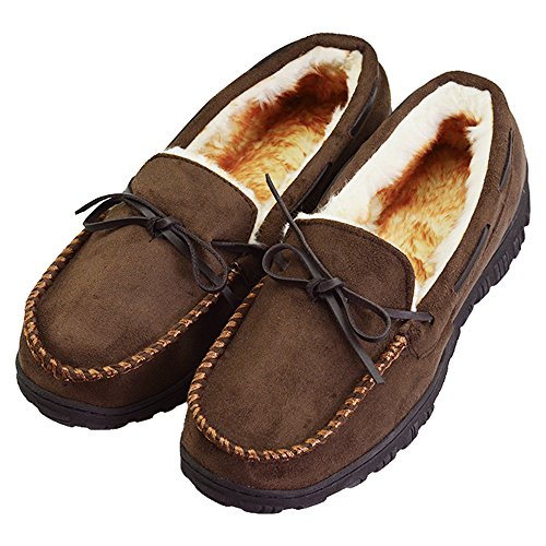 VLLY Men's Leather Casual Pile Lined Microsuede Indoor Outdoor Slip On Moccasin Slippers Size 10 Dark Brown (FBA) by VLLY