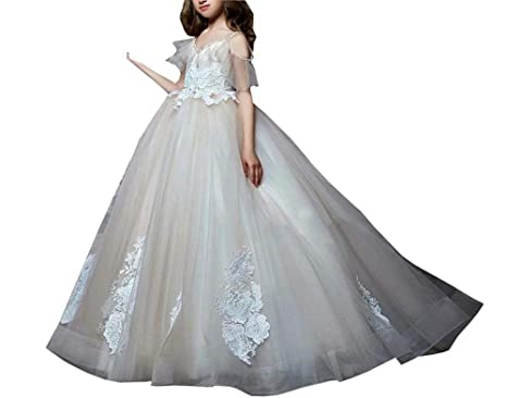 a43ee340d0d Boho Cold Shoulder Flower Girl Dresses 7-16 for Wedding Beaded Lace Ball  Gown Kids