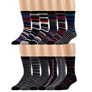 Men's Cotton Blend Dress Socks -12 Pairs Asstd Colors, Striped Patterns -by ZEKE, 10-13 Sock Size Shoe Size 8-12