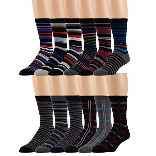 Men's Cotton Blend Dress Socks -12 Pairs Asstd Colors, Striped Patterns -by ZEKE, 10-13 Sock Size Shoe Size 8-12