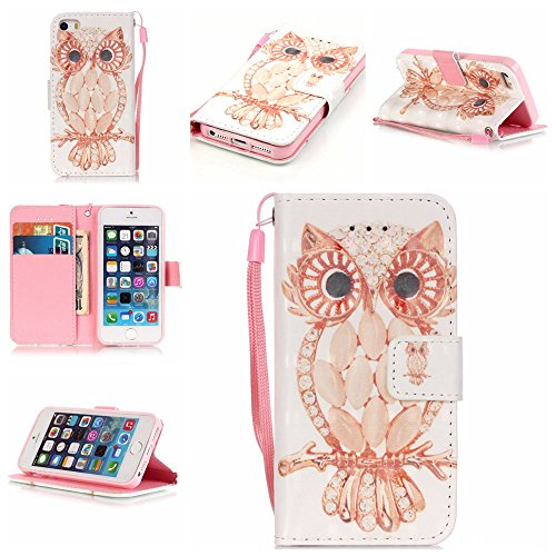 iPhone 5/5S/SE Case,Firefish [Kickstand] [3D Printing] Folio Style Wallet Case of PU Leather with Magnetic Closure Wrist Strap for Apple iPhone 5/5S/SE-Shell Owl