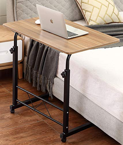 (Akway Mobile Laptop Desk Cart 31.5 x 19.6 inches Rolling Cart Notebook Computer Stand Bed Table for Eating Teak)