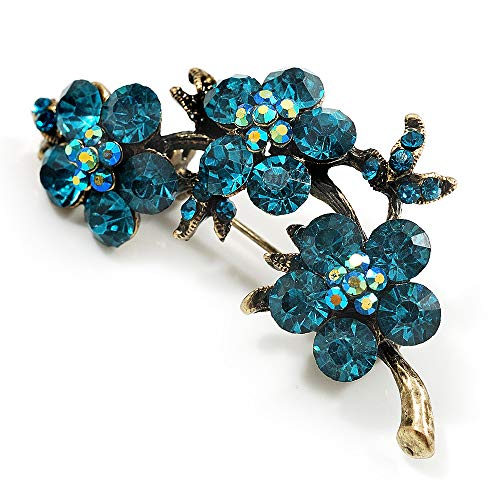 Avalaya Top Grade Austrian Crystal Floral Brooch (Gold Tone & Teal Blue) - 55mm Across