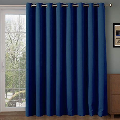 (Rose Home Fashion RHF Wide Thermal Blackout Patio Door Curtain Panel, Sliding Door Curtains Antique Bronze Grommet Top 100W by 84L Inches-Navy)