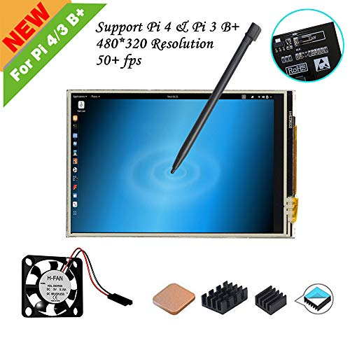 for Raspberry Pi 4/Pi 3 B+, 3.5 inch Resistive Touch Screen with Mini Fan, 3Pcs Heat-Sinks, 320x480 Pixel Monitor TFT LCD [Support RASPBIAN Buster System]