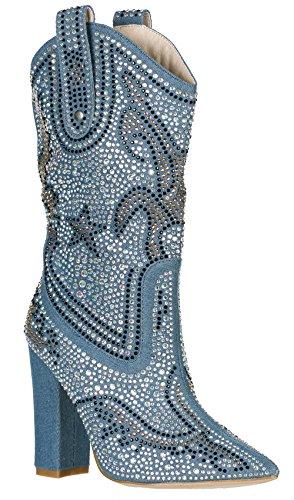 CAPE ROBBIN Women's Rhinestone Cowboy Boots,8.5 B(M) US,Denim