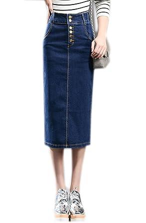 Womens Slim Classic Pencil Stretch Denim Skirt Below Knee Jean