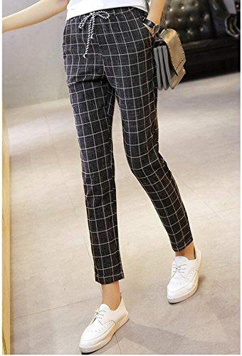 Ragazza Stoffa Pantaloni Di Trousers Eleganti Donna Abbigliamento Chic Con Moda Estivi Reticolo Lunga Nero Nahen Pantaloni Con Tasche Pantaloni Harem Coulisse Giovane Taille Moda Primaverile nFUqUO