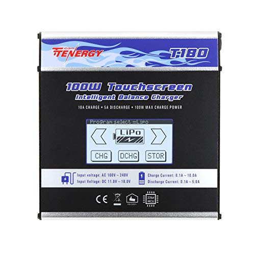 Tenergy T180 100W Balance Charger Discharger, Touch Screen RC Battery Charger for NiMH/NiCd/Li-Po/Li-Fe Packs, Durable Metal Housing, LiPo Battery Charger w/ Tamiya/JST/EC3/HiTec/Deans Connectors (Best Rc Lipo Battery Charger)