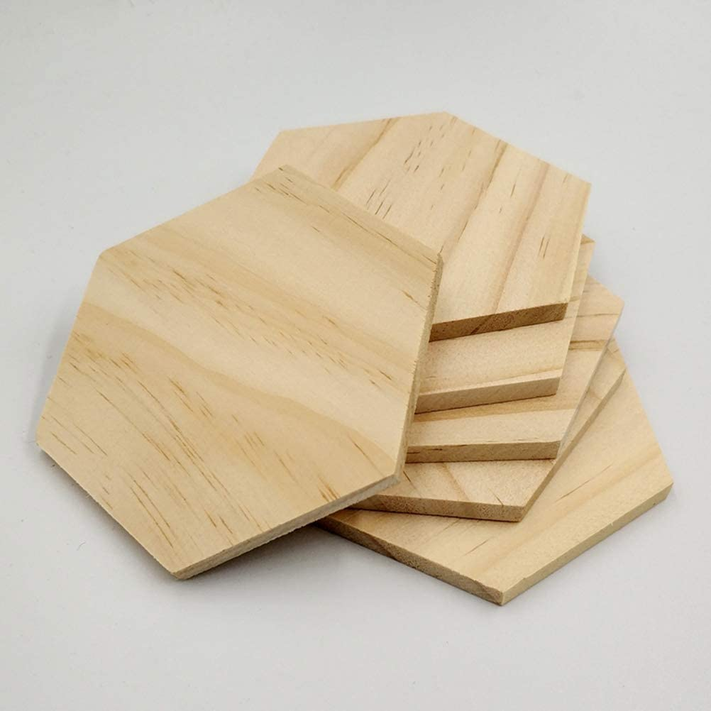 [6 Pack] Rustic Wood Coasters for Drinks -100% Natural Plain Wooden coasters For Drinks-Set of 6 Coasters-4 Inch Hexagon in Shape-Prevent Furniture From damage,Centerpiece For Home Office Table