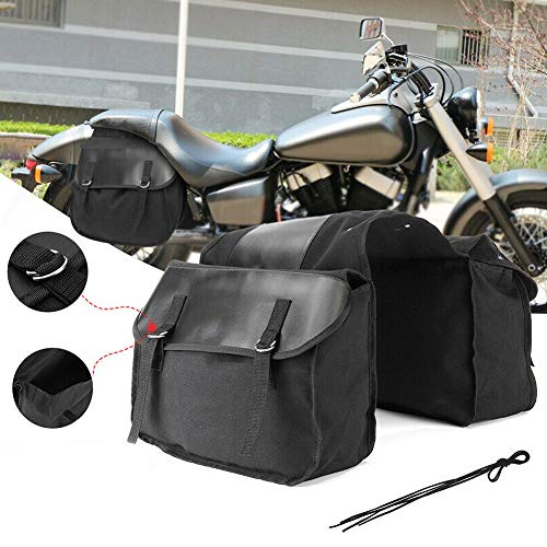 Everrich 1 Pair Motorcycle Saddle Bag Set Medium Waterproof Insulated PU Leather Side Bag for Harley Sportster Softail Honda Suzuki Yamaha Cruiser