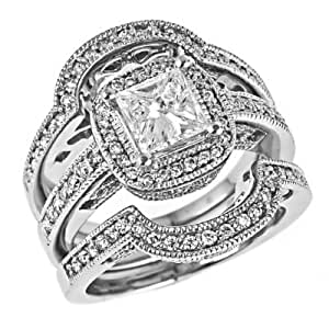 Amazon.com: Radiant Cut Diamond Engagement Ring Matching
