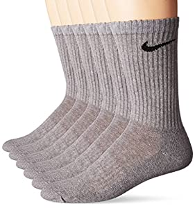 NIKE Unisex Performance Cushion Crew Socks Bag (6 Pairs), Dark Grey Heather/Black, Large