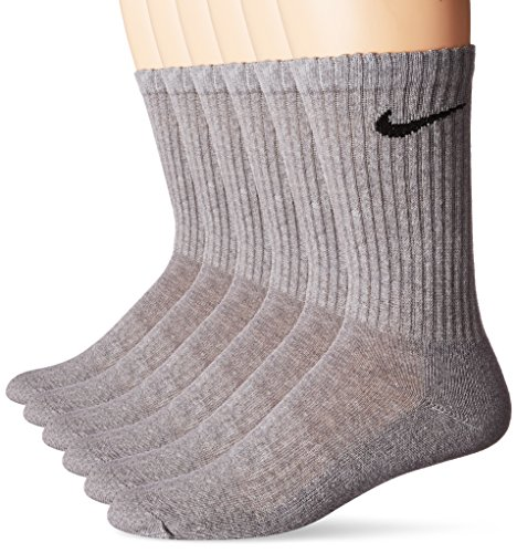 NIKE Unisex Performance Cushion Crew Socks with Bag (6 Pairs), Dark Grey Heather/Black, Small by NIKE