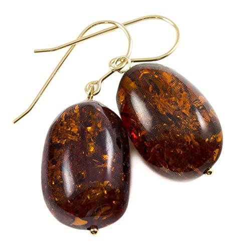 14k Gold Filled Honey Amber Earrings Nugget Drop Dangle Style