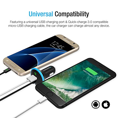 Quick Charge 3.0 Car Charger, Maxboost 36W USB Smart port with QC 3.0 built-in MicroUSB Cable for Galaxy S8/S7/S6/Edge, HP Elite x3,HTC One A9,10,LG G5 V20,ZTE Axon,Zenfone,iPhone X/8/7/6/6s plus