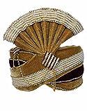 INMONARCH Mens Trendy Look Moti Work Turban Pagari Safa Groom Hats TU1092 23-Inch Maroon-Brown