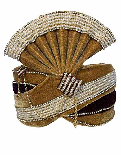 INMONARCH Mens Trendy Look Moti Work Turban Pagari Safa Groom Hats TU1092 23-Inch Maroon-Brown by INMONARCH