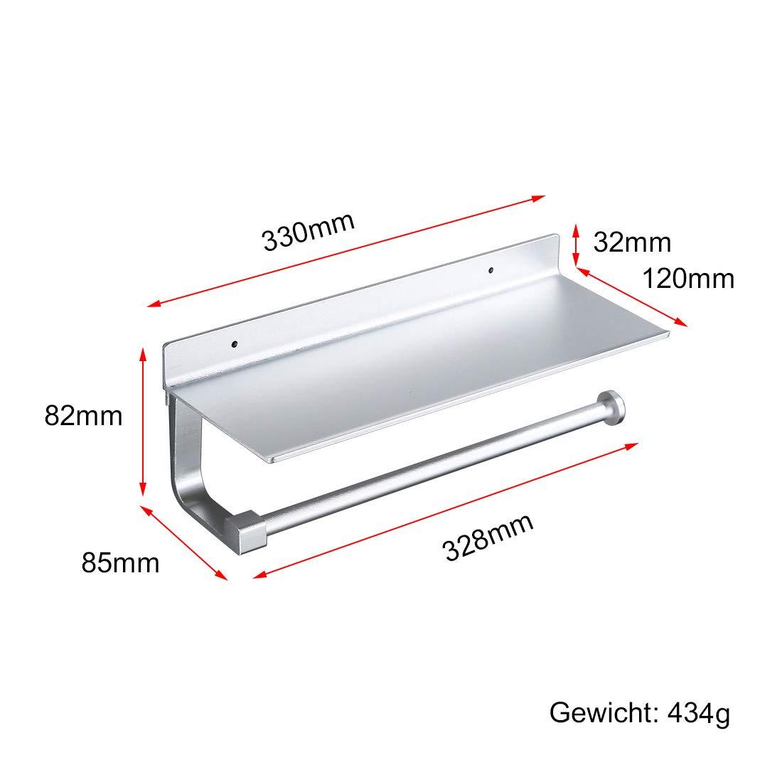 Safeni K/üchenrollenhalter ohne Bohren,Toilettenpapierhalter mit Ablage,Papierhandtuchhalter K/üchenrollenhalter,Aluminium,Selbstklebend oder Wandmontage 33 x12x8.2cm