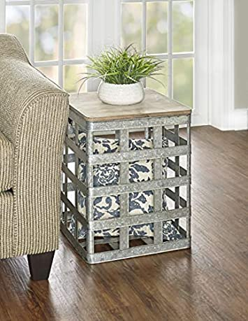 Powell D1036A16 Galvanized Side Table, Multicolor