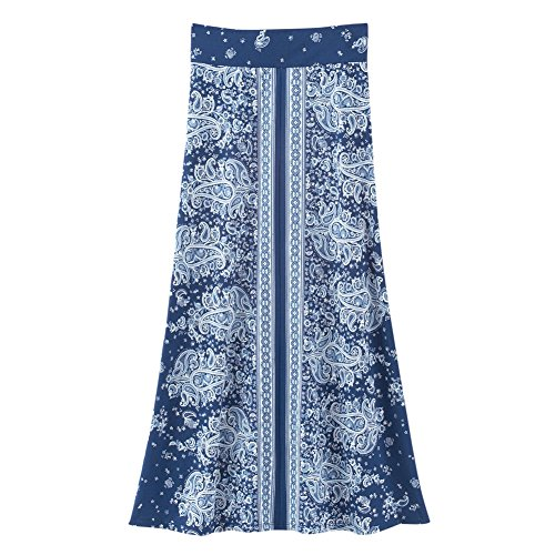 Women's Bandana Print Long Knit Skirt, Navy, Xx-Large