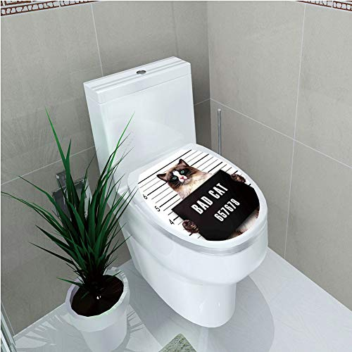 Reverse Gang (Toilet Cover Sticker,Cat Lover Decor,Bad Gang Cat in Jail Kitty Under Arrest Criminal Prisoner Hangover Artsy Work,Brown Black White,Custom Sticker,W12.6
