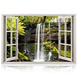 Realistic Window Wall Decal - Peel and Stick Spa Decor for Living Room, Bedroom, Office, Playroom - Waterfall Wall Murals Removable Window Frame Style Nautical Wall Art - Vinyl Poster Wall Stickers