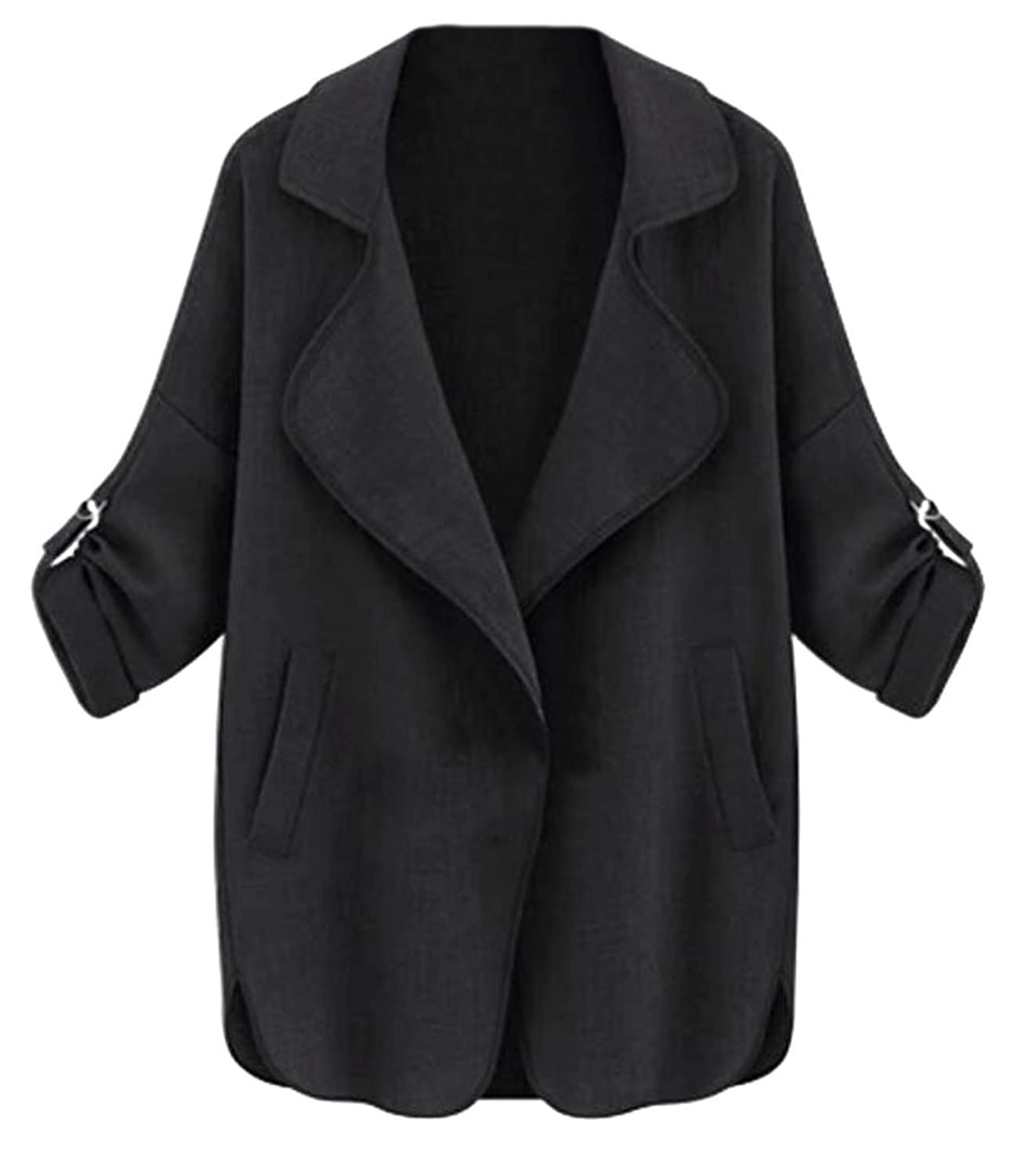 XQS Womens Fall Casual Roll Up Sleeve Plus Size Lapel Cardigans