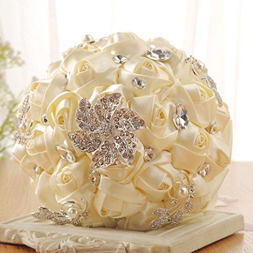 Wedding Bouquet,YJYDADA Crystal Roses Bridesmaid Wedding Bouquet Bridal Artificial Silk Flowers (White)