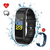 Fitness Tracker,Smart Band Bracelet Watch Activity Tracker Waterproof Bluetooth Wristband with Heart Rate Monitor Pedometer Sleep Monitor Calorie Counter Blood Pressure for iPhone and Android SmartPhones