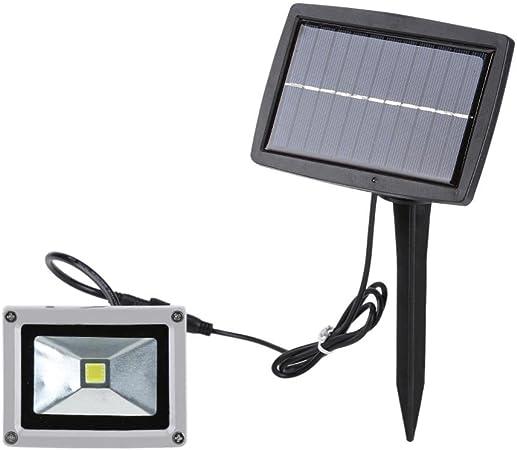 Foco Solar 10W LED Lámpara Solar Foco Solar Exterior Luz Solar Jardín para Jardín, Patio, Cercado y Camino, Terraza, Cámping(Warm White): Amazon.es: Hogar