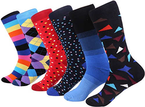 Marino Mens Dress Socks - Fun Colorful Socks for Men - Cotton Funky Socks - 6 Pack - Cool Collection - 13-15